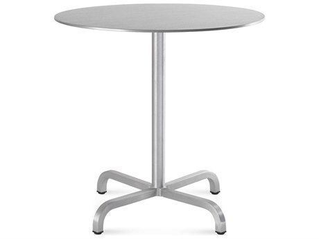 Emeco Outdoor Norman Foster Brushed Aluminum 30'' Wide Round Bistro Table PatioLiving