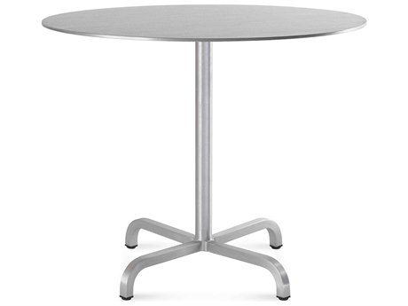 Emeco Outdoor Norman Foster Brushed Aluminum 36'' Wide Round Dining Table PatioLiving