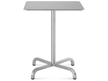 Emeco Outdoor Norman Foster Brushed Aluminum 24'' Wide Square Bistro Table