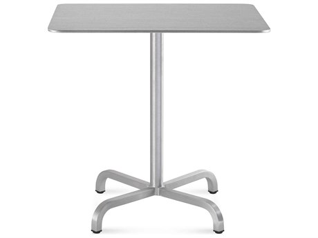Emeco Outdoor Norman Foster Brushed Aluminum 30'' Wide Square Bistro Table