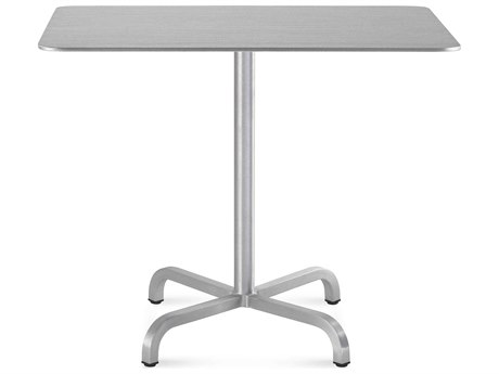Emeco Outdoor Norman Foster Brushed Aluminum 36'' Wide Square Dining Table PatioLiving