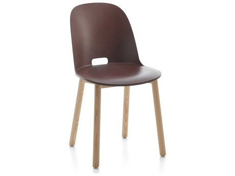 Emeco Outdoor Alfi Ash Wood High Back Dining Side Chair with Dark Brown Seat and Back PatioLiving