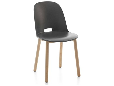 Emeco Outdoor Alfi Ash Wood High Back Dining Side Chair with Dark Grey Seat and Back PatioLiving