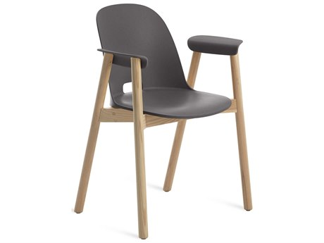 Emeco Outdoor Alfi Ash Wood Dining Arm Chair with Dark Grey Seat and Back PatioLiving