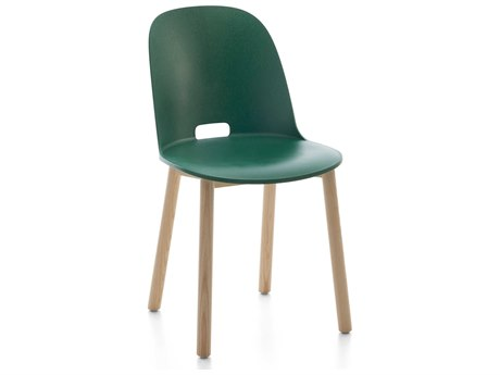 Emeco Outdoor Alfi Ash Wood High Back Dining Side Chair with Green Seat and Back PatioLiving