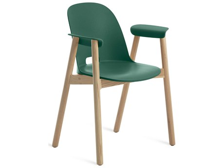 Emeco Outdoor Alfi Ash Wood Dining Arm Chair with Green Seat and Back PatioLiving