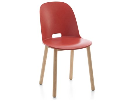 Emeco Outdoor Alfi Ash Wood High Back Dining Side Chair with Red Seat and Back PatioLiving
