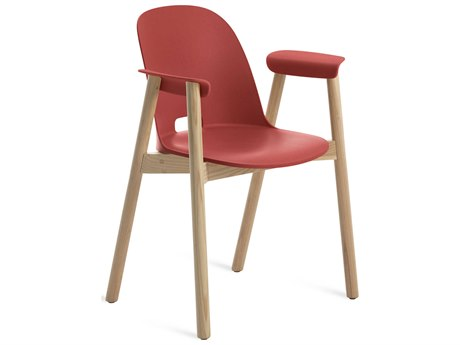 Emeco Outdoor Alfi Ash Wood Dining Arm Chair with Red Seat and Back PatioLiving