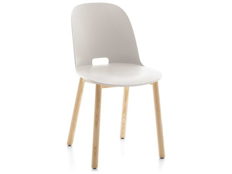 Emeco Outdoor Alfi Ash Wood High Back Dining Side Chair with White Seat and Back PatioLiving