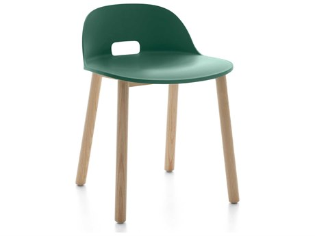 Emeco Outdoor Alfi Ash Wood Low Back Dining Side Chair with Green Seat and Back PatioLiving