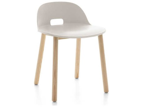 Emeco Outdoor Alfi Ash Wood Low Back Dining Side Chair with White Seat and Back PatioLiving