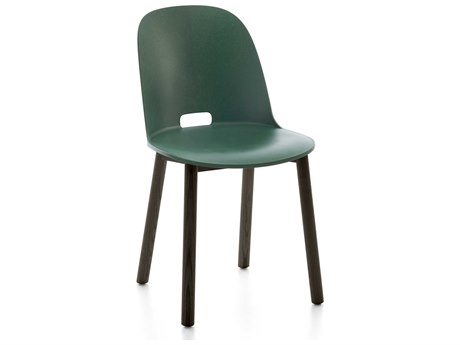 Emeco Outdoor Alfi Ash Wood Dark High Back Dining Side Chair with Green Seat and Back PatioLiving