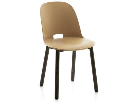 Emeco Outdoor Alfi Ash Wood Dark High Back Dining Side Chair with Sand Seat and Back PatioLiving