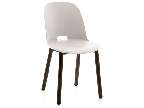 Emeco Outdoor Alfi Ash Wood Dark High Back Dining Side Chair with White Seat and Back PatioLiving