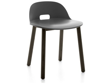 Emeco Outdoor Alfi Ash Wood Dark Low Back Dining Side Chair with Dark Grey Seat and White PatioLiving