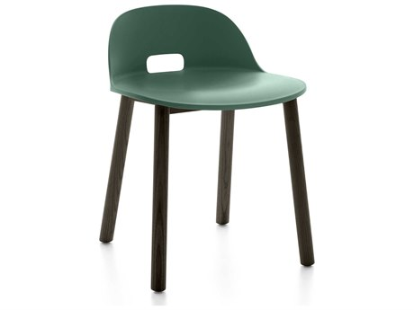 Emeco Outdoor Alfi Ash Wood Dark Low Back Dining Side Chair with Green Seat and Back PatioLiving