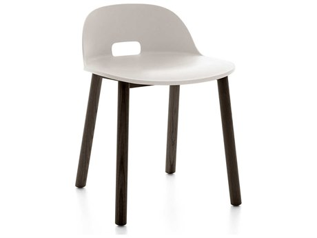 Emeco Outdoor Alfi Ash Wood Dark Low Back Dining Side Chair with White Seat and Back PatioLiving