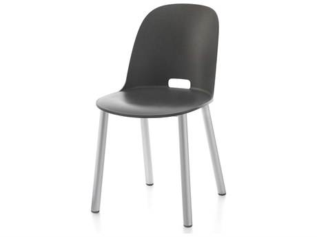 Emeco Outdoor Alfi Aluminum High Back Dining Side Chair with Dark Grey Seat and Back PatioLiving
