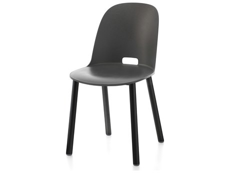 Emeco Outdoor Alfi Aluminum Balck High Back Dining Side Chair with Dark Grey Seat and Back PatioLiving