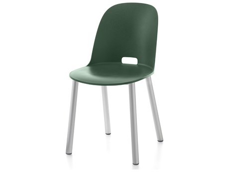 Emeco Outdoor Alfi Aluminum High Back Dining Side Chair with Green Seat and Back PatioLiving