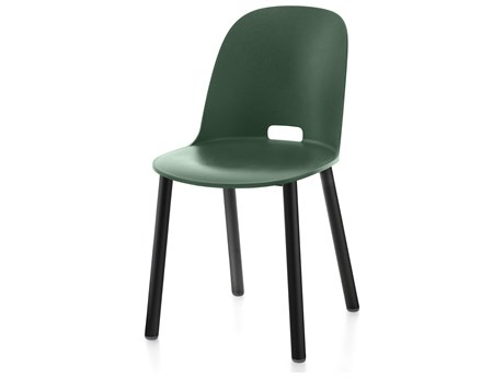 Emeco Outdoor Alfi Aluminum Black High Back  Dining Side Chair with Green Seat and Back PatioLiving