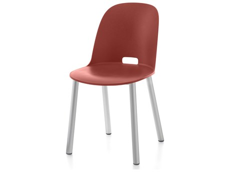 Emeco Outdoor Alfi Aluminum High Back Dining Side Chair in Red Seat and Back PatioLiving