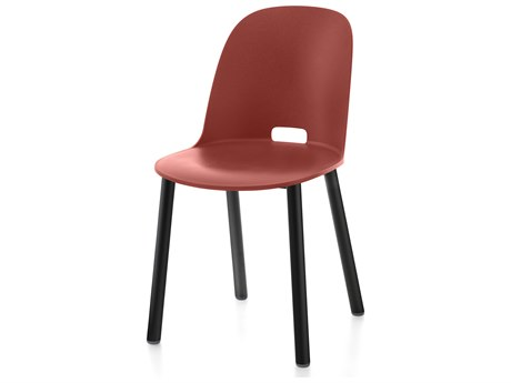 Emeco Outdoor Alfi Aluminum Black High Back Dining Side Chair with Red Seat and Back PatioLiving