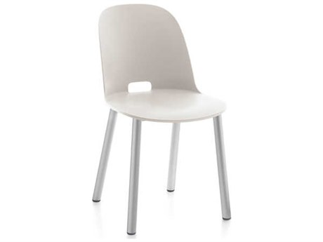 Emeco Outdoor Alfi Aluminum High Back Dining Side Chair with White Seat and Back PatioLiving