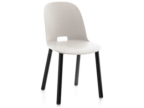 Emeco Outdoor Alfi Aluminum Black High Back Dining Side Chair with White Seat and Back PatioLiving