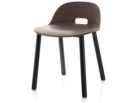 Emeco Outdoor Alfi Aluminum Black Low Back Dining Side Chair with Dark Brown Seat and Back PatioLiving