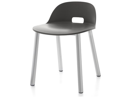 Emeco Outdoor Alfi Aluminum Low Back Dining Side Chair with Dark Grey Seat and Back PatioLiving