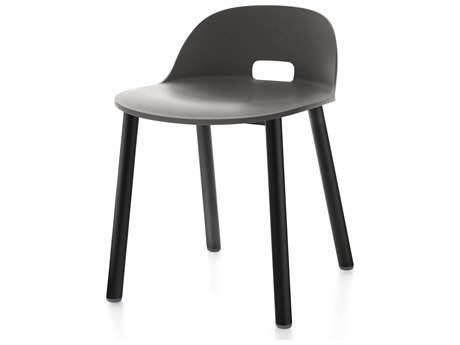 Emeco Outdoor Alfi Aluminum Black High Back Dining Side Chair with Dark Grey Seat and Back PatioLiving