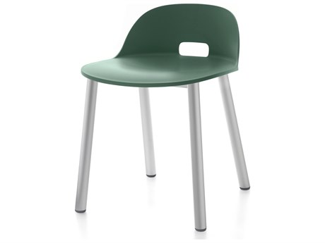 Emeco Outdoor Alfi Aluminum Low Back Dining Side Chair with Green Seat and Back PatioLiving