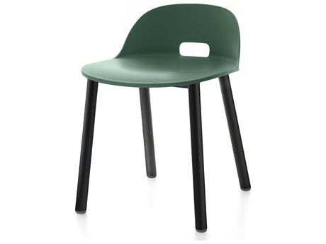 Emeco Outdoor Alfi Aluminum Black Low Back Dining Side Chair with Green Seat and Back PatioLiving