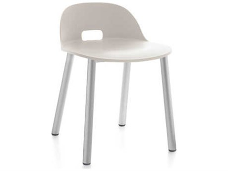 Emeco Outdoor Alfi Aluminum Low Back Dining Side Chair with White Seat and Back PatioLiving