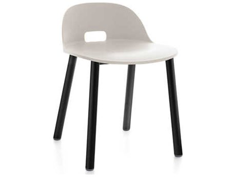 Emeco Outdoor Alfi Aluminum Black Low Back Dining Side Chair with White Seat and Back PatioLiving