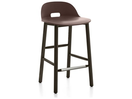 Emeco Outdoor Alfi Ash Wood Dark Low Back Counter Stool with Dark Brown Seat and Back PatioLiving