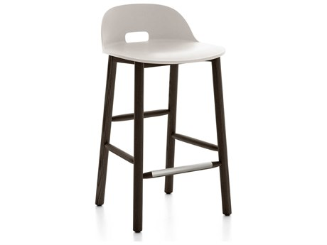 Emeco Outdoor Alfi Ash Wood Dark Low Back Counter Stool with White Seat and Back PatioLiving