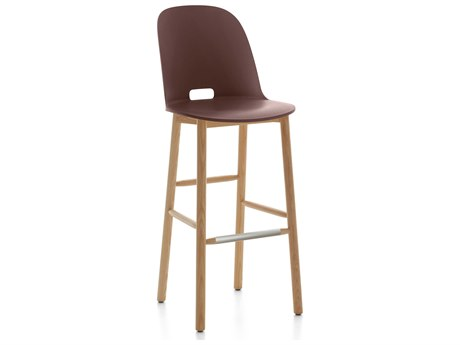 Emeco Outdoor Alfi Ash Wood High Back Bar Stool with Dark Brown Seat and Back PatioLiving