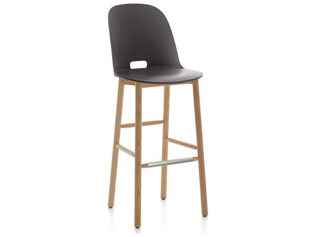 Emeco Outdoor Alfi Ash Wood High Back Bar Stool with Dark Grey Seat and Back PatioLiving