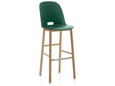 Emeco Outdoor Alfi Ash Wood High Back Bar Stool with Green Seat and Back PatioLiving