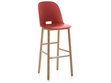 Emeco Outdoor Alfi Ash Wood High Back Bar Stool with Red Seat and Back PatioLiving