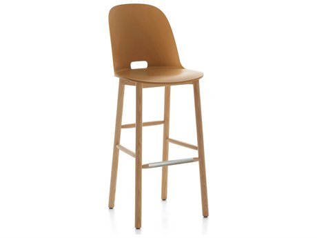 Emeco Outdoor Alfi Ash Wood High Back Bar Stool with Sand Seat and Back PatioLiving