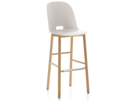 Emeco Outdoor Alfi Ash Wood High Back Bar Stool with White Seat and Back PatioLiving