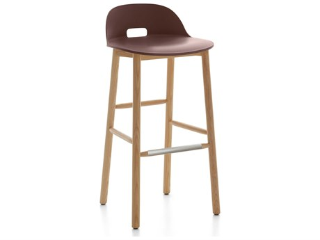 Emeco Outdoor Alfi Ash Wood Low Back Bar Stool with Dark Brown Seat and Back PatioLiving