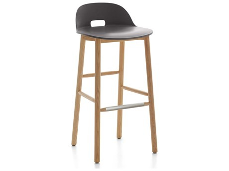Emeco Outdoor Alfi Ash Wood Low Back Bar Stool with Dark Grey Seat and Back PatioLiving