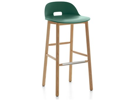 Emeco Outdoor Alfi Ash Wood Low Back Bar Stool with Green Seat and Back PatioLiving