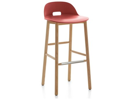 Emeco Outdoor Alfi Ash Wood Low Back Bar Stool with Red Seat and Back PatioLiving