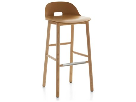 Emeco Outdoor Alfi Ash Wood Low Back Bar Stool with Sand Seat and Back PatioLiving