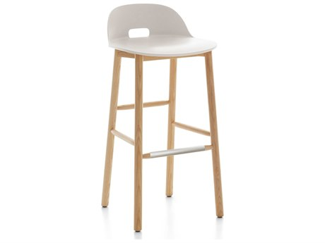 Emeco Outdoor Alfi Ash Wood Low Back Bar Stool with White Seat and Back PatioLiving